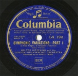 【SP盤】GB COL LX192 WALTER GIESEKING SYMPHONIC VARIATIONS PART1/PART2
