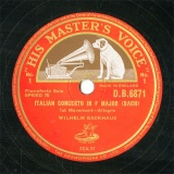 【SP盤】GB HMV D.B.6871 WHILHELM BACKHAUS ITALIAN CONCERTO