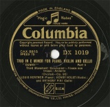 【SP盤】GB COL DX1019 LOUIS KENTNER&HENRY HOLST&ANTHONY PINI TRIO(「DUMKY」)Third Movement(Concluision)/Fourth Movement