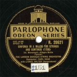 【SP盤】GB  PARLO R.20621 LIONEL SALTER&KARL HAAS SINFONIA IN A MAJOR FOR STRINGS AND CONTINUO