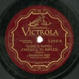 【SP盤】GB  VTM 1292 Beniamino Gigli ADDIO A NAPOLI(FRAWELL TO NAPLES)/O BEI NIDI D AMORE(BEAUTIFUL NEST)