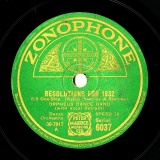 【SP盤】GB ZON 6037 ORPHEUS DANCE BAND Kester,Harley&Stanley RESOLUTIONS FOR 1932/O Hagan&Dundas CARRY ON -6/8 ONE-STEP