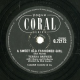 【SP盤】GB CORAL Q.72172 TERESA BREWER Bob Merrill A SWEET OLD FASHIONED GIRL/Wilder,Eager  GOODBYE JOHN