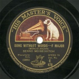 【SP盤】GB HMV E478 BENNO MOISEIVITCH SONG WITHOUT WORDS/HUNTING SONG