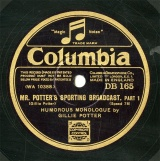 【SP盤】GB COL DB165 GILLIE POTTER MR.POTTER S SPORTING BROADCAST/MR.POTTER S SPORTING BROADCAST.