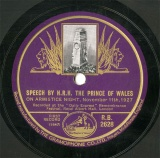【SP盤】GB HMV R.B.2628 H.R.H.THE PRINCE OF WAALES SPEECH BY H.R.H.THE PRINCE OF WAALES