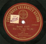 【SP盤】GB ZON 1117 HARRY LAUDER She s the lass for me/A wee hoose  mang the heather