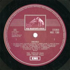GB  EMI  HQS1289 トルトゥリエ チェロ曲集