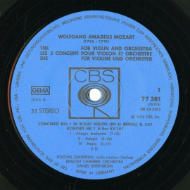 DE CBS CBS77381 バレンボイム&ズッカーマン モーツァ…