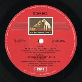 AU  EMI OASD2952 パーヴォ・ベルグルンド グリーグ・…