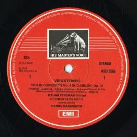 GB EMI ASD3555 パールマン ヴュータン・ヴァイオリン協…
