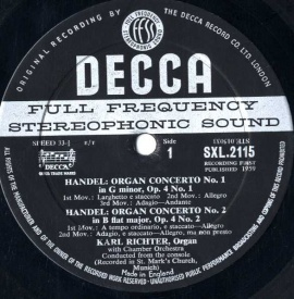 GB  DEC  SXL2115 リヒター  ヘンデル・オルガン協奏曲