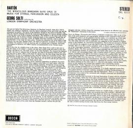 GB  DEC  SXL6111 ショルティ  バルトーク・管弦楽集
