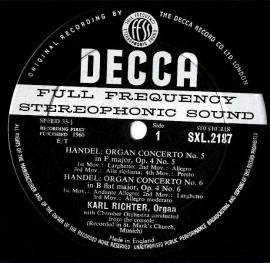 GB  DEC  SXL2187 リヒター  ヘンデル・オルガン協奏曲