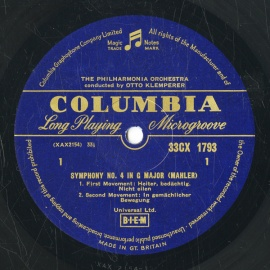 GB COL CX1793 オットー・クレンペラー マーラー・交響曲…