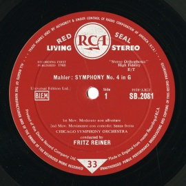 GB RCA  SB2081 フリッツ・ライナー マーラー・交響曲4番