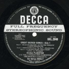 GB DEC SXL2049 キルステン・フラグスタート 歌曲集