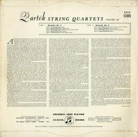 GB COL  CX1285 ヴェーグSQ バルトーク・弦楽四重奏曲…