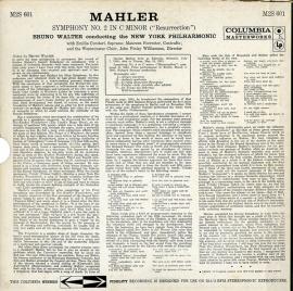 US COL M2S 601 ブルーノ・ワルター マーラー・交響曲2…