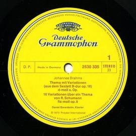 DE DGG 2530 335 バレンボイム ブラームス・ピアノバリ…