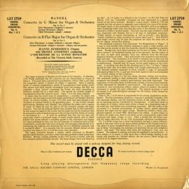 GB DEC LXT2759 アンセルメ ヘンデル・オルガン協奏曲1…