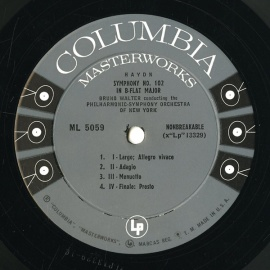 US COL ML5059 ワルター ハイドン・交響曲102番/96番