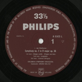 NL PHIL A01473L ワルター ベートーヴェン・交響曲1番…