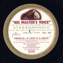 GB EMI ASD260サージェント シベリウス・交響曲1番